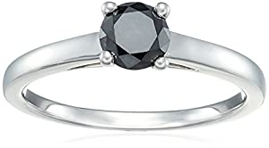 Sterling Silver Enhanced Black Round Diamond Solitaire Ring (1/2 cttw, I3 Clarity), Size 6