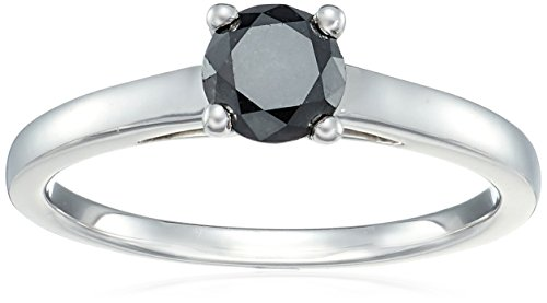 - Sterling Silver Enhanced Black Round Diamond Solitaire Ring (1/2 cttw, I3 Clarity), Size 6