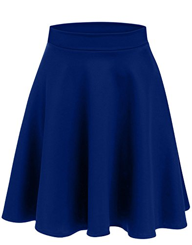 Simlu Womens Skater Skirt, A Line Flared Skirt Reg & Plus Size Skater Skirts USA (Size XXX-Large, Royal Blue - Midi) ()