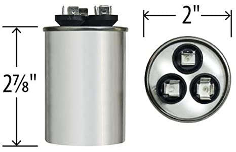 GE Genteq Replacement for Capacitor 30/5 uf 370 volt 97F9833, 370V, 30/5  MFD, Dual Run, Round Capacitor