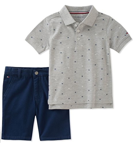 Tommy Hilfiger Baby Boys 2 Pieces Polo Shorts Set, Gray, 3-6 Months from Tommy Hilfiger