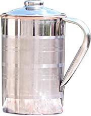 Stainless Steel and Copper Pitcher with Lid | Heavy Duty Stainless Steel and Pure Copper Designer Jug with Matching Lid | Steel and Copper Pitcher with Unique Ring Design