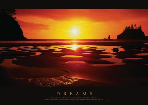 Dreams-Beach Sunset-Motivational, Photography Poster Print