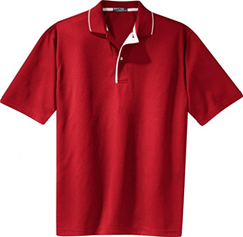 Sport-Tek - Dri-Mesh Polo with Tipped Collar and Piping. - Red/White K467 2XL