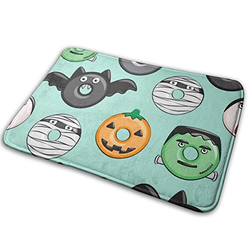 (Halloween Donut Medley - Teal - Monsters Pumpkin Frankenstein Black Cat Dracula_111,Colourful Easy Clean PVC Non Slip Backing Entry Way Doormat for Patio, Front,16x24in Weather Exterior)