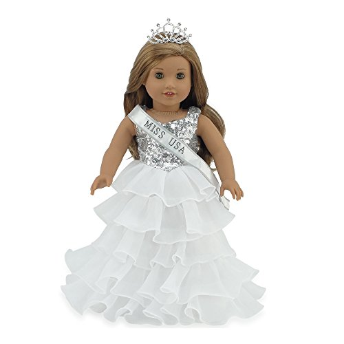 Emily Rose 18 Inch Doll Clothes | Ball Gown Pageant Doll Dress with Miss USA-Inspired Sash and Sparkling Crown! | Fits American Girl Dolls