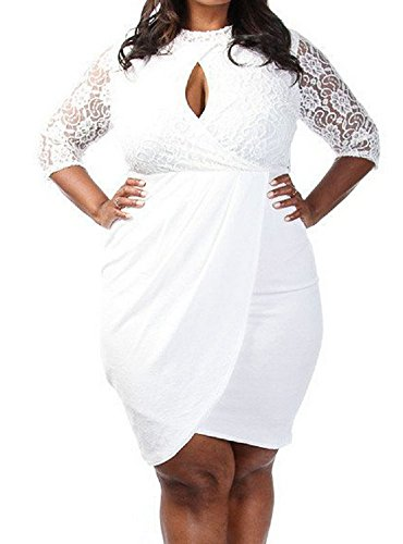 EZONCH Women#039s Plus Size White Laced Mesh Keyhole Drape Dress XXXL