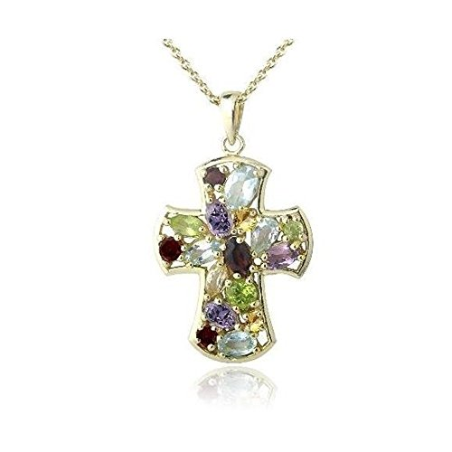 Glitzs Jewels Gold Tone Over Brass Simulated Multi Gemstone & Simulated Diamond Accent Cross ()