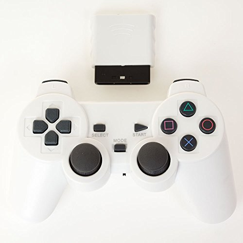Bowink Wireless Gaming Controller for Ps2 Double Shock – Solid White For Sale