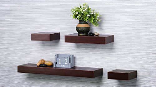 O&K Furniture 4-Piece Multilength Floating Ledge Shelves (Red Oak/Dark Cherry)