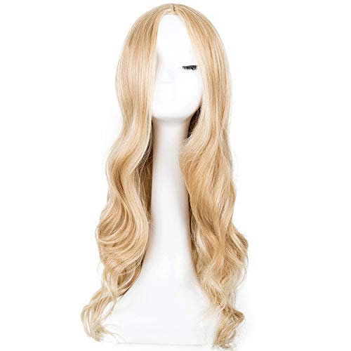 Cosplay Wig Little-Kiwi Synthetic Long Curly Middle Part Line Blonde Women Costume Carnival Halloween Party Salon Hairpiece,Bah / -