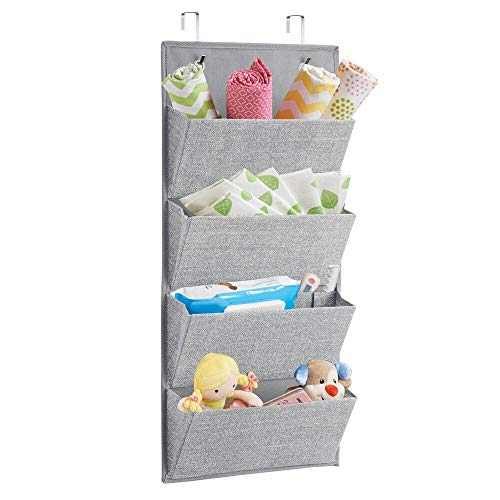 mDesign Soft Fabric Wall Mount/Over Door Hanging Storage Organizer - 4 Large Pockets for Child/Kids Room or Nursery, Hooks Included - Textured Print - Gray