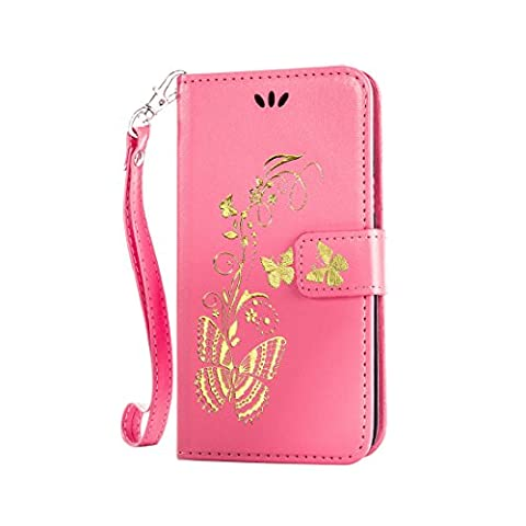 L90 Case, LG Optimus L90 Case, Love Sound [Bronzing Butterfly/Pink] [Wrist Strap] Luxury PU Leather Wallet Case Flip Cover Built-in Card Slots Stand for LG Optimus L90 (T-Mobile) / (Lg D415 Phone Case For Girls)