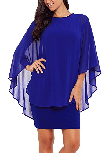 Alinemyer Womens Chiffon Round Neck Cocktail Party Overlay Midi Dress Royal Blue L