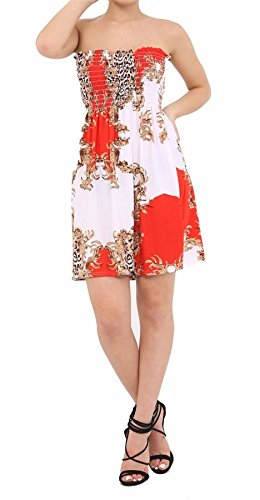 Sleeveless Dress Mini Paisley Summer Ladies UK Red Top Boobtube 26 Bandeau Printed Sheering 21FASHION Womens 8 xwSqIX88
