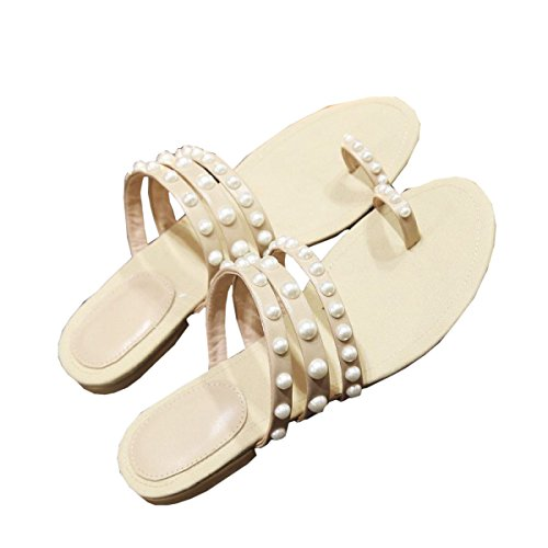 Dfb Women's Shoes Small Incense Leather Pearl Slippers Women Flat Bottom Clip Toe Cool Slippers Flat With Light Slippers For Women,Beige-37