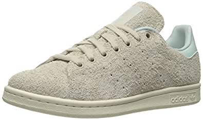adidas Originals Women's Stan Smith W Fashion Sneaker, Clear/Brown/Vapour Green Fabric, 5.5 M US