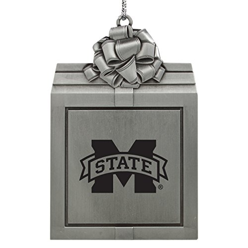 Holiday State Bulldogs Ornament Mississippi (Mississippi State University -Pewter Christmas Holiday Present Ornament-Silver)