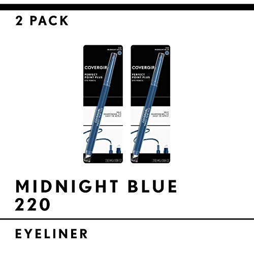 Covergirl Perfect Point Plus Eyeliner Pencil, Midnight Blue, 2 Count