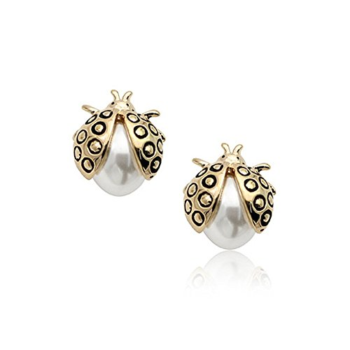 18K Gold Plated Adorable Lucky Ladybug Stud Earrings,E312-3