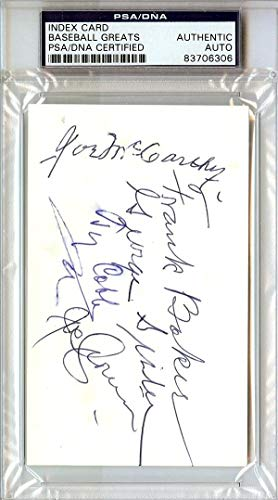"Ty Cobb, Frank""Homerun"" Baker, Joe McCarthy, George Sisler, Joe Cronin & Pete Peterson Autographed 3x5 Index Card #83706306 PSA/DNA Certified"