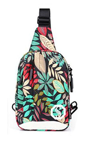 and pattern Mujer Bolso Red Niño Hiking bandolera leaf Hombre Leisure vxqwdnB
