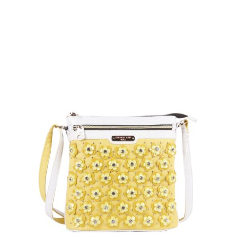 Nicole Lee Makenzie Floral Encrusted Beads Cross Body Bag, Yellow, One Size