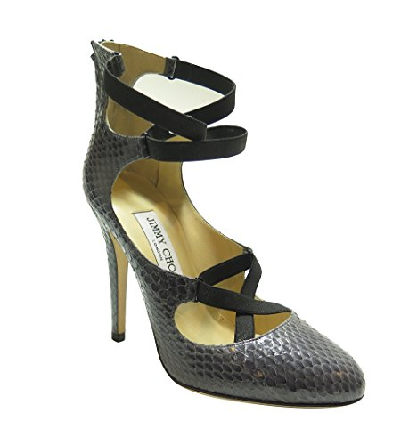 JIMMY CHOO Gray Leather Strappy Shoe 37