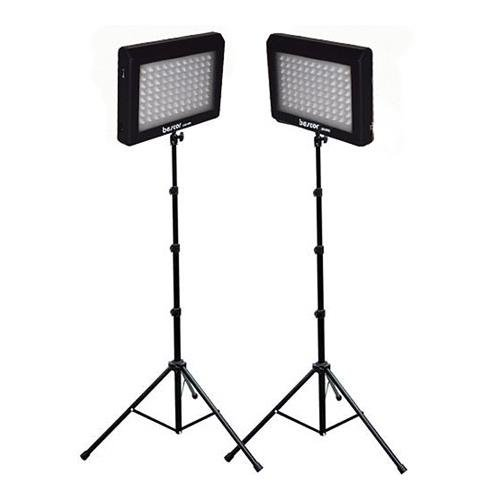 Bescor LED-95DK2 LED Video Light Kit with Two LED Light Panels, Two Pieces Floor Stands and Two AC Adaptors Bescor Led