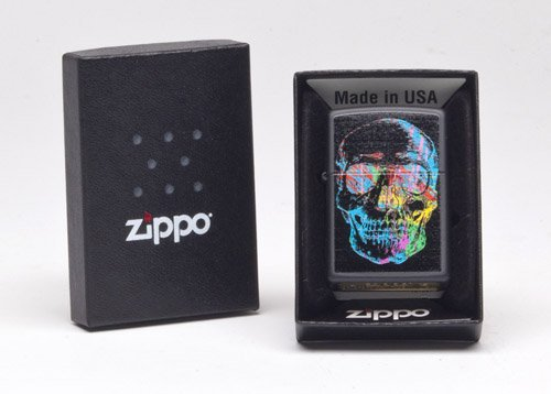 Price comparison product image Zippo Colorful Skull Pocket Lighter,  Black Matte