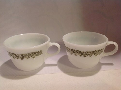 Vintage Set 2 Pyrex Milkglass Tea Coffee Cups in the Spring Blossom Crazy Daisy Pattern