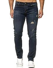 Reslad Jeans Herren Destroyed Slim Fit Herren-Hose Jeanshose Männer Hosen Stretch Denim Jeans RS-2090 Dunkelblau W29 / L34