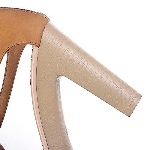 VogueZone009 Womens Open Toe High Heel Platform Chunky Heels PU Solid Sandals, Brown, 4.5 UK