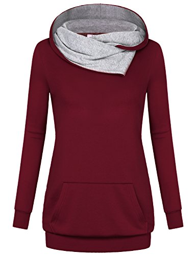 Miusey Cute Hoodies, Women Burgundy Sweatshirt Knitted Pullover Sweet Sweat Shirt Baggy Layer Weekday Clothes Grace Unique Vintage Sport Awesome Dressy Blouses Tunic Tops for Leggings Wine XXL ()