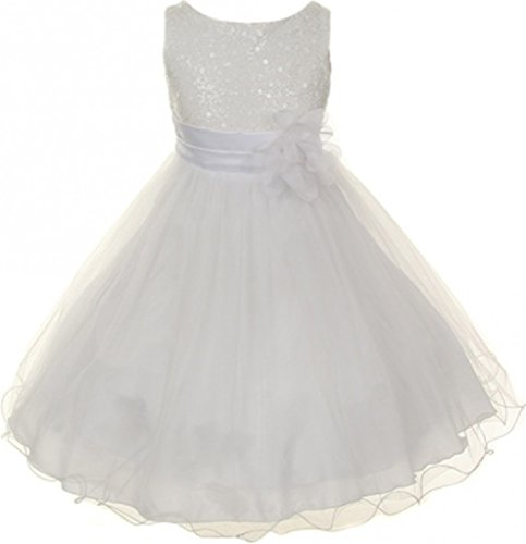 - Big Girls' Gorgeous Sequined Round Neck Tulle Flower Corsage Pageant Flower Girl Dress White 10 (K30D5)