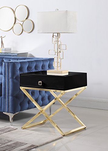 Iconic Home Ithaca Nightstand Side Table with Self Closing Drawer Lacquer X Base Brass Finished Stainless Steel, Modern Contemporary, Black
