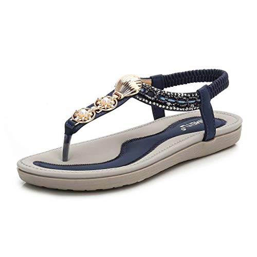 Kauneus Women's Rhinestone Flat Sandals Glitter Shoes Bohemian Summer Beach T-Strap Flip-Flops Thong Sandals Blue