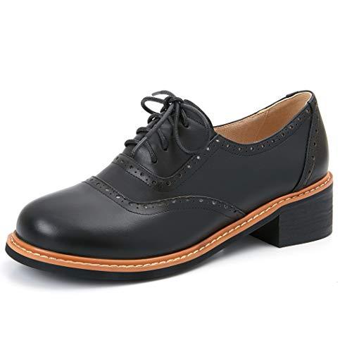 Ancho Annieshoe Oxford Cordones Negro Tacon Casual Elegantes Zapatos De Mujer Brogue WqF4azqAw