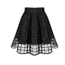 FUNIC Women Organza Skirts High Waist Zipper Ladies Tulle Skirt