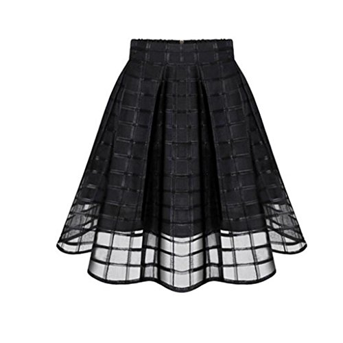 FUNIC,Women Organza Skirts High Waist Zipper Ladies Tulle Skirt (X-Large, Black)