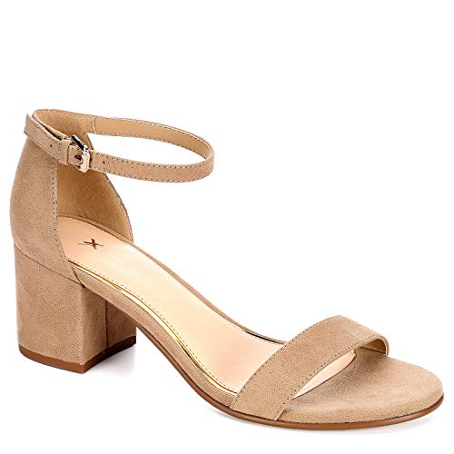 XAPPEAL Womens Harlow Block Heel Dress Sandal Shoes, Tan, US 10