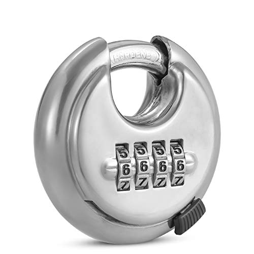 4 Digit Combination Lock with Hardened Steel Shackle Combo Padlock for Sheds, Locker,Storage Unit, Gym and Fence (1 Pack) ()