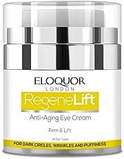 Eloquor RegeneLift Anti Aging Eye Cream | Premium Face Moisturiser with Hyaluronic Acid & Vitamins for Wrinkles, Fine Lines, Dark Circles, Puffiness & Sensitive Skin | Natural, Organic & Cruelty Free