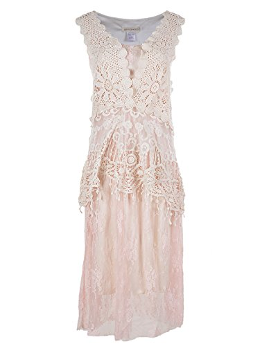 Anna-Kaci Womens Vintage Lace Gatsby 1920s Cocktail Dress with Crochet Vest, Light Pink, Small/Medium ()