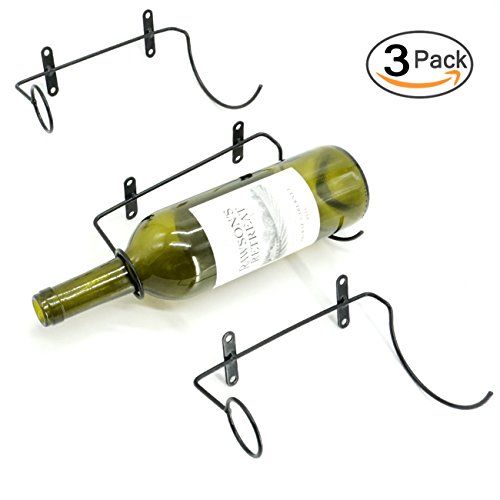 3 Pack Iron Wine Rack Wall Mounted Wine Bottle Holder, Included Mounting Screws and Anchors (Style A)