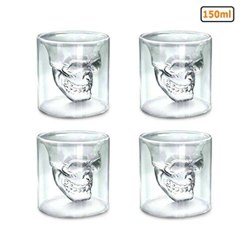 GuDoQi Skull Glass Cup Double Wall Crystal Skull Shot Glasses Cocktail Mug Beer Wine Glasses Set of 4