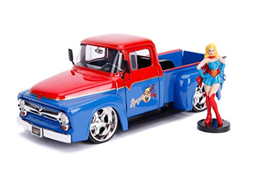 Ford F-series Pickup Hood - Jada 1956 Ford F-100 Pickup Truck Red and Blue with Supergirl Diecast Figure DC Comics Bombshells Series 1/24 Diecast Model Car 30454
