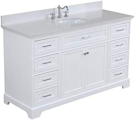 Aria 60-inch Single Bathroom Vanity Quartz White Includes White Cabinet with Stunning Quartz Countertop and White Ceramic Sink