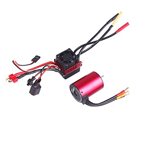 3650 4300KV 5mm Brushless Motor Waterproof Sensorless with 60A Brushless ESC Combo Set for 1/10 RC Car Truck Vehicle by RCRunning(Red