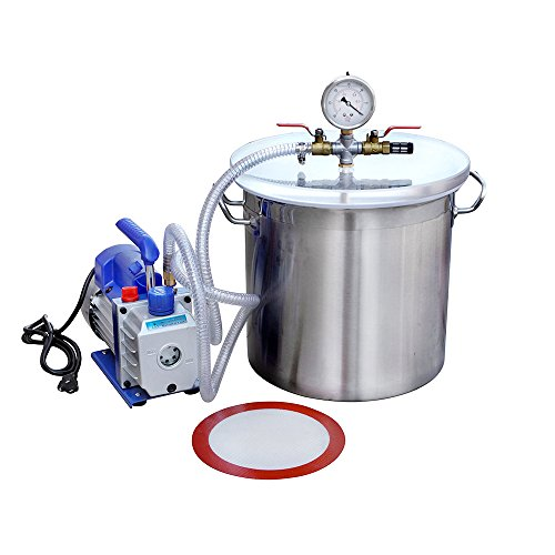 3 Cfm Vacuum Pump (ECO-WORTHY 5 Gallons Stainless Steel Vacuum Degassing Chamber Kit with 3 CFM Single Stage Pump Kit)